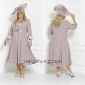 Plus-Size-Mother-Of-The-Groom-Bride-Dress-Suit-3-4-Sleeve-Jacket-Custom-2-Pieces