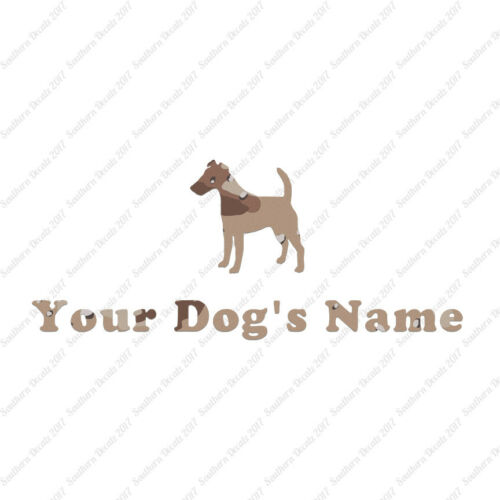 6 Fonts Custom Smooth Fox Terrier Dog Name Decal Sticker 25 Printed Fills