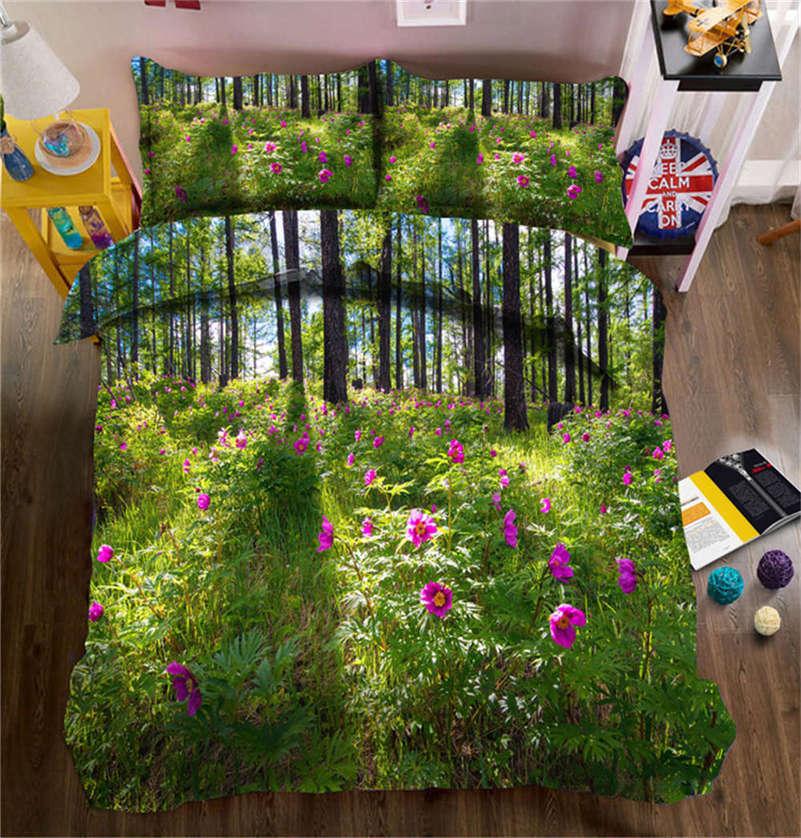 Retinued Flower 3D Printing Duvet Quilt Doona Covers Pillow Case Bedding Sets
