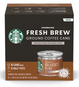 Starbucks Medium Roast Fresh Brew Ground Coffee Cans. Breakfast Blend. (8 CANS)