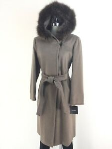 dd9e6107737 Details about ELLEN TRACY NWT Taupe Wool-blend Natural Fox fur Hooded Coat  Petite 8P 10P 12P