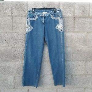 Image is loading C2-Celine-Jeans-denim-Blue-Embroidered-Woman-Authentic- 41c8d89d29741