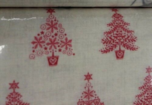 100/% cotton. Christmas Scandi trees red cream fat quarter free p/&p