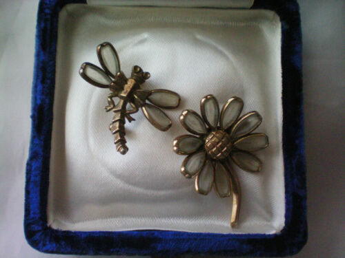 Vintage Trifari Dragonfly and Floral Brooch AS IS