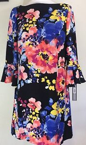 b6bcbbed65a2 TAHARI by ASL Printed Floral Bell Sleeve Shift Dress Size 6 NWT ...