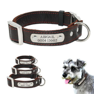 Real-Genuine-Leather-Personalised-Dog-Collar-Dog-ID-Name-Phone-Tags-Engraved