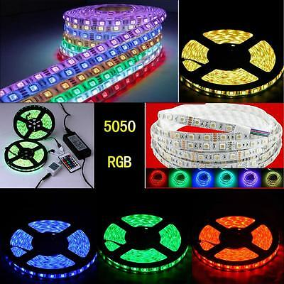 1-20M 5050 SMD 300/150 LED Flexible RGB Light Strip +IR Remote 12V power adapter