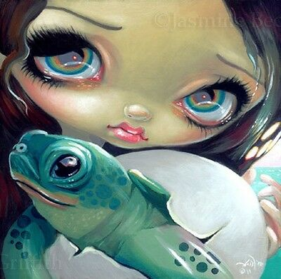 Fairy Face 164 Jasmine Becket-Griffith SIGNED 6x6 PRINT baby turtle egg trifle