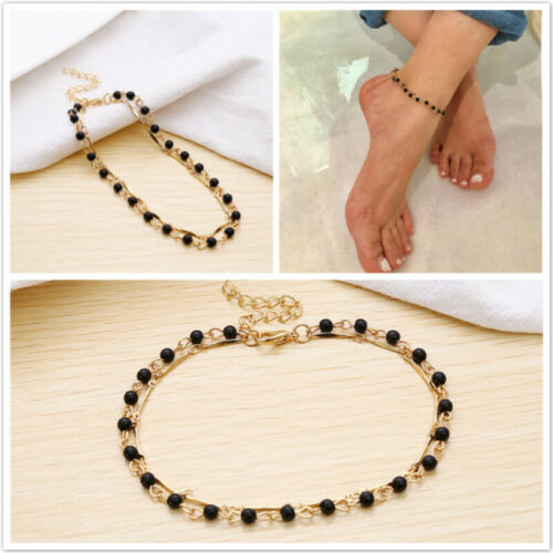 Double Layer Leg Chain Anklet Female Beaded Handmade Fashion Barefoot Jewelry