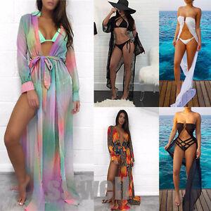 Women-Retro-Beach-Cover-up-Chiffon-Bikini-Swimwear-Wrap-Long-Dress-Swimsuit-lot