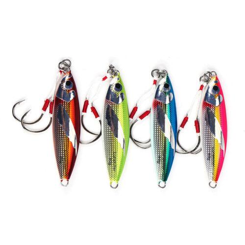 4PCS Deep sea Fishing Glow Zebra Stripe Jigging Slow Jig Lure spoon bait 40-100g