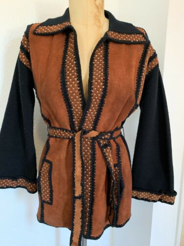 Vintage 60s Bohemian FOREST Leather Suede FLARE SL