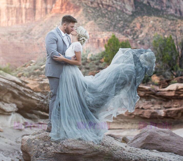 Sale Popular Dusty bluee Grey Long Train Tulle Skirt Wedding Bridal Dress
