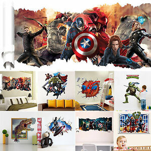 3D-Superheroes-Avengers-Art-Wall-Decals-Vinyl-Stickers-Home-Living-Room-Decors