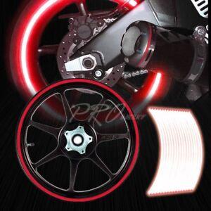 RED REFLECTIVE RIM TAPE WHEEL STRIPE MOTO BIKE AUTO DECAL STICKER 16 17 18 19