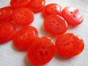 lot 6 boutons vintage Orange veiné demi sphére style lucite 2,3// 2 cm réf 474