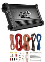 Lanzar Htg157 3000w Mono Mosfet Car Audio Power Amplifier + 8 Ga Amp Kit Intall on sale