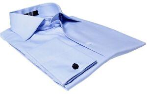 Labiyeur-Men-039-s-Slim-Fit-French-Cuff-Textured-Dress-Shirt-Blue