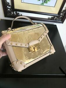 NWT-MICHAEL-KORS-Kinsley-Small-Top-Handle-Leather-Satchel-Gold