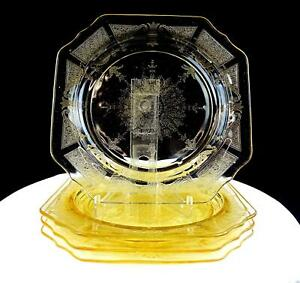 ANCHOR-HOCKING-DEPRESSION-GLASS-PRINCESS-TOPAZ-4-PIECE-8-3-8-034-SALAD-PLATES-1931