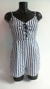 Size 10 #7l480 Exquisite Handwerkskunst; Blue/white Parisian Tie Front Stripped Playsuit