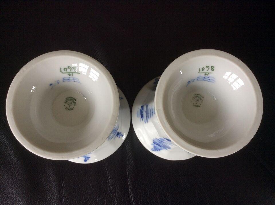 Porcelæn, Vaser på fod & høj lysestage, BLÅ BLOMST