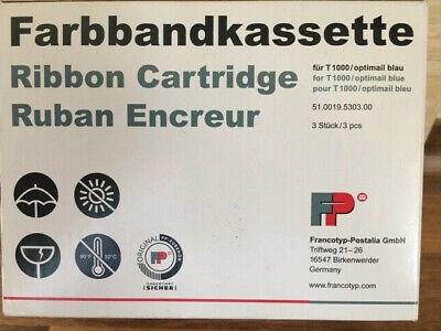 Francotyp Farbbandcassetten 3er Pack T1000/ Optimail Blau