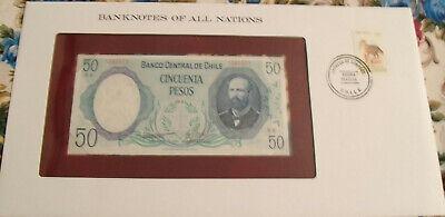 Uruguay 50 Pesos 1981 P61c UNC  w//FDI UN FLAG STAMP Serie D