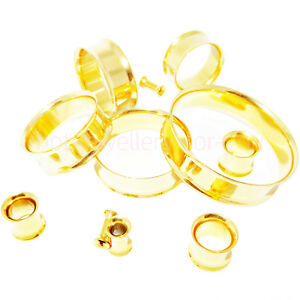 2-x-Gold-Flesh-Tunnels-Double-Flared-Ear-Plug-High-Polished-Metal-Stretcher-Pair