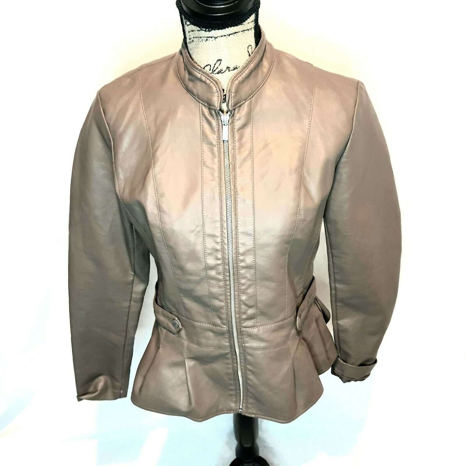 Baccini Women's Faux Leather Flare Jacket Brown Small Zipper