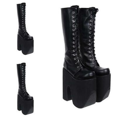 Women Punk Lolita 16cm Super High Heel Platform Lace Up Gothic Boots Cosplay HOT