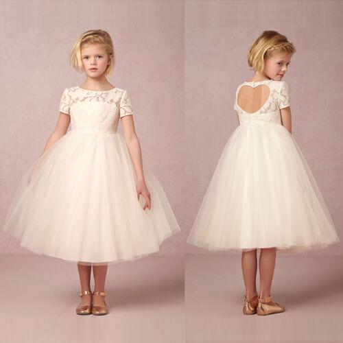 Kinder Mädchen Brautkleider Prinzessin Kleider Kostüm Brautjungfern Kleid Weiß