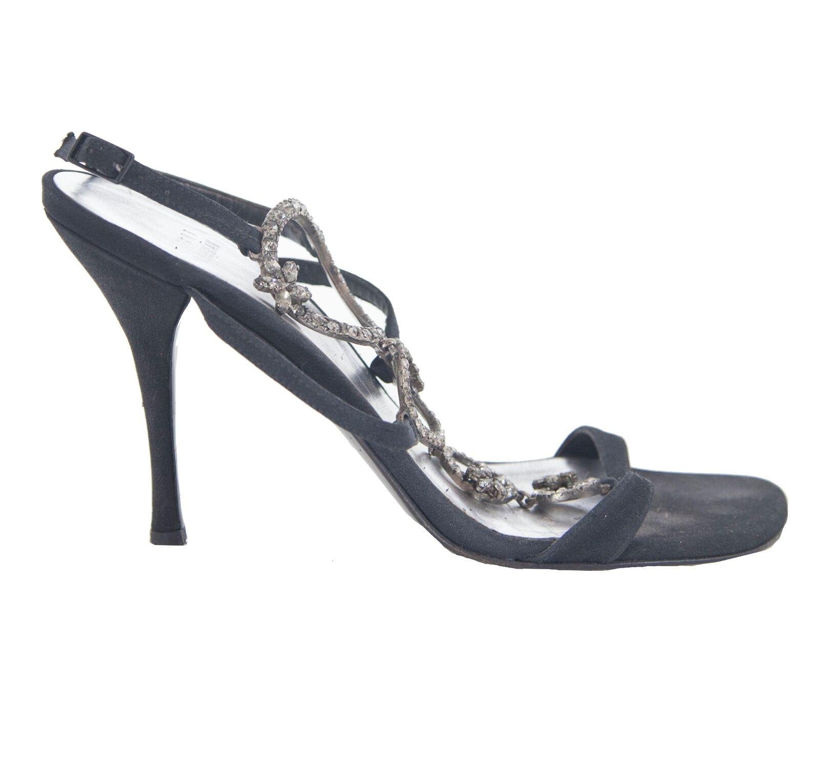 Stuart Weitzman nero satin open-toe sandals with crystal detail Dimensione 6.5