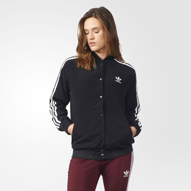 Adidas Originals Női 3 Stripes Trefoil Logo Bomber Jacket Black &Fehér