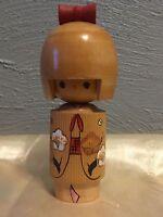 """Cute Girl "" Japanese vintage Kokeshi wooden doll statue"