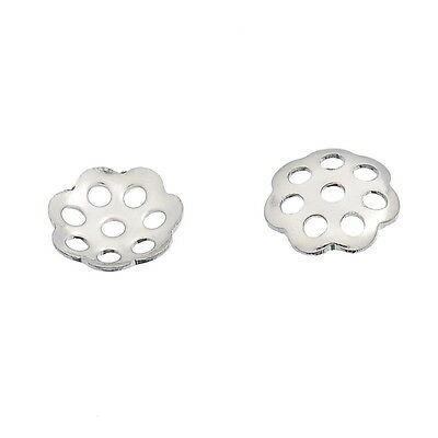 "100PCs Stainless Steel Silver Tone Flower Bead Caps 6mm( 2/8"")"