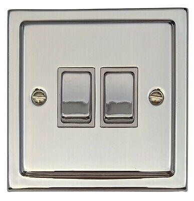 G/&H TC282 Trimline Plate Polished Chrome 2 Gang 1 or 2 Way Toggle Light Switch