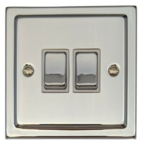 G/&H TC202 Trimline Plate Polished Chrome 2 Gang 1 or 2 Way Rocker Light Switch