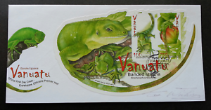 [SJ] Vanuatu Fiji Banded Iguana 2007 Reptiles (FDC) *signed *odd shape *rare