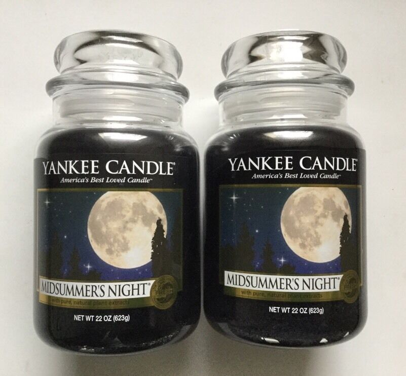 Yankee Candle Lot Of 2 MIDSUMMER'S NIGHT 22 oz. LARGE JARS HTF SCENT