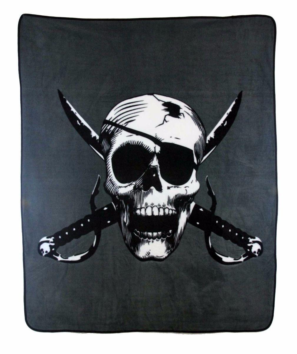 Wholesale ( 6 ) Pirate Skull Cutlass 50x60 Polar Fleece Blanket Throw Plush