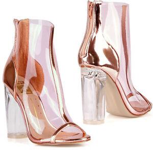 c344ab8e8b9 Rose gold clear peep toe chunky heel ankle booties jpg 300x295 Rose gold  chunky heel