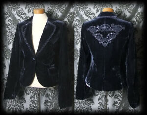 Gothic-Midnight-Blue-Velvet-RAPTURE-Embroidery-Detail-Jacket-Coat-8-10-Victorian