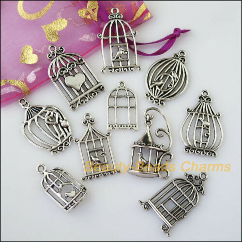 10Pcs Antiqued Silver Tone DIY// Birds Cage Mixed Charms Pendants