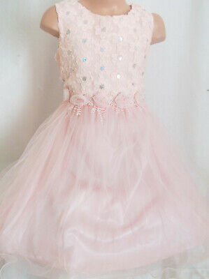 GIRLS WHITE GOLD GLITTER PRINT SATIN TULLE SPECIAL OCCASION PRINCESS PARTY DRESS