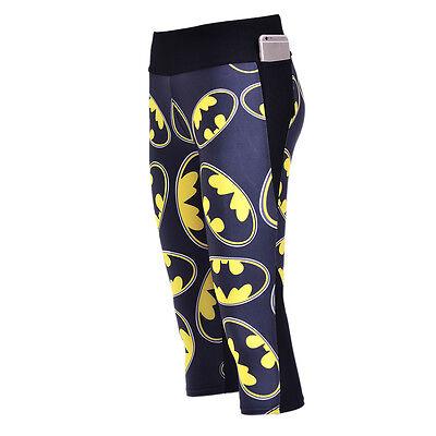 Women/'s 7 points Leggings batman printed high waist legging Side pocket 423