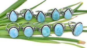10 Pcs Natural Larimar Oval Pear 925 Sterling Solid Silver Jewelry Ring SR-3