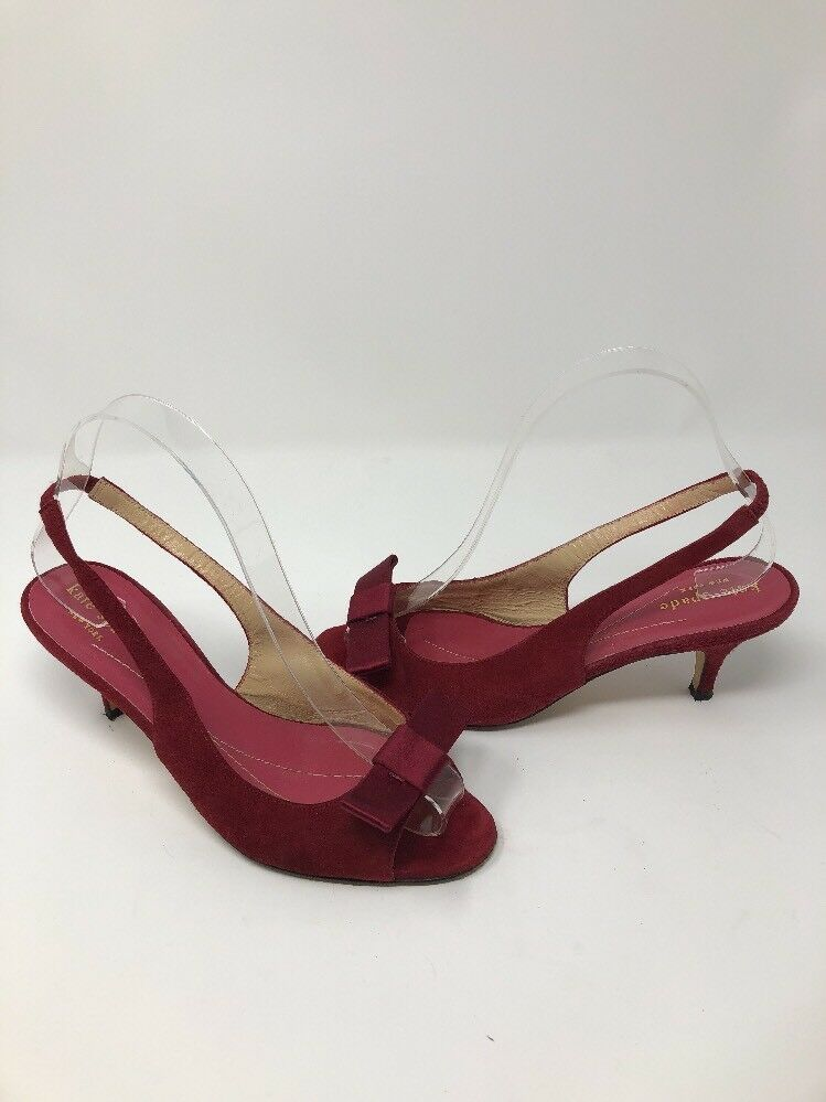 Kate Spade Spade Spade New York rot Suede Leather Slingback Pump Sz 6.5 M Made in  249fcb