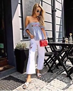d2bf200b8f92bf ZARA BNWT STRIPED OFF THE SHOULDER TOP EMBROIDERY WHITE SKY BLUE ...