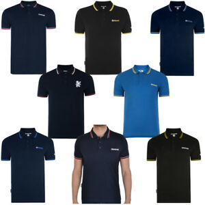 Homme-Lambretta-TWIN-TIPPED-Target-Logo-Manches-Courtes-Polo-Shirt-Taille